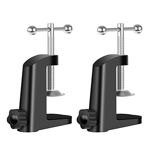 Neewer Heavy-duty Metal Table Mounting Clamp for Microphone Suspension Boom Scissor Arm Stand Holder with Adjustable Positioning Screw, Fits up to 1.77'/4.5cm Desktop Thickness--Black (2 Pack)