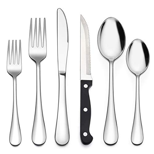 LIANYU 48-Piece Silverware Set with Steak Knives, Stainless Steel Flatware Cutlery Set for 8, Fancy Eating Utensils Tableware, Dishwasher Safe, Mirror Finish