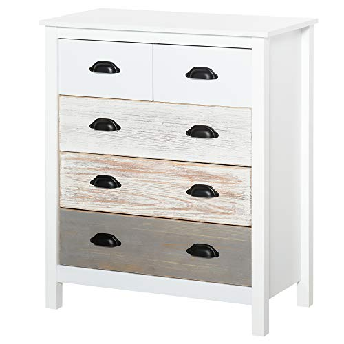 HOMCOM Chest of Drawers,5 Drawers Storage Cabinet Bedroom Clothes Closet Living Room Organizer
