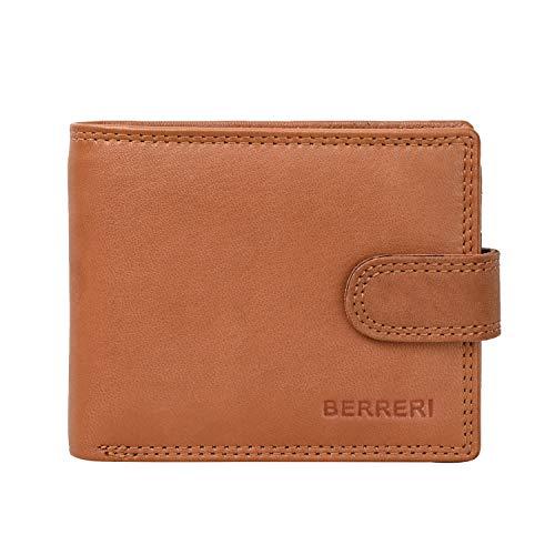Berreri Cartera de cuero genuino para hombre con caja de regalo, bolsillo para monedas, bloqueo RFID, comparación secreta, multi tarjeta de crédito, cuero suave y duradero marrón natural