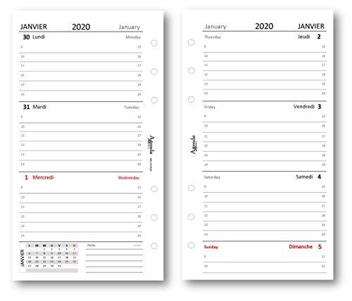 Ricambio agenda 2020 settimanale bianco lingua FRANCESE - INGLESE (90 gr) 9,5 x 17 bilingua ricambio agenda organizer
