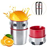 MIGECON Manual Orange Juicer Cirtus Press Juicer Portable Stainless Steel Lid Rotation Squeezer with Filter, Manual Juice Press for Lemon Citrus Grapefruit Lime Orange Squeezer.