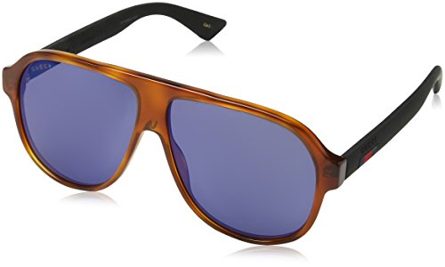 Gucci GG0009S, Gafas de Sol para Hombre, Azul (Avana/Black/Blue), 59