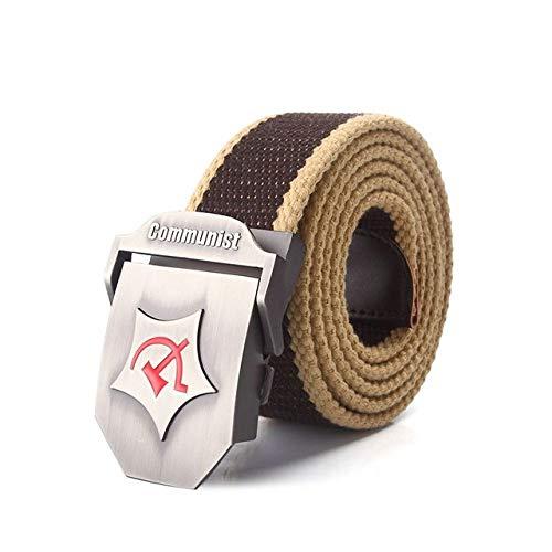 WOFDDH Cinturón de lona, para hombres y mujeres, cinturón de tela de metal, hebilla nacional, estilo militar, cinturón táctico unisex, al aire libre, informal, vintage, 150 cm