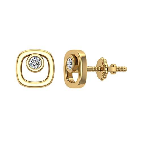 Diamond Earrings Cushion Shape Studs 10K Yellow Gold - Bezel Setting Screw Back Posts (0.10 carat total) (0.1 Ct Diamond Bezel)