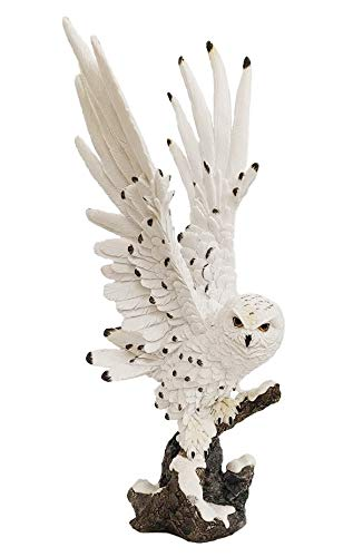 Perched Snow Owl Statue