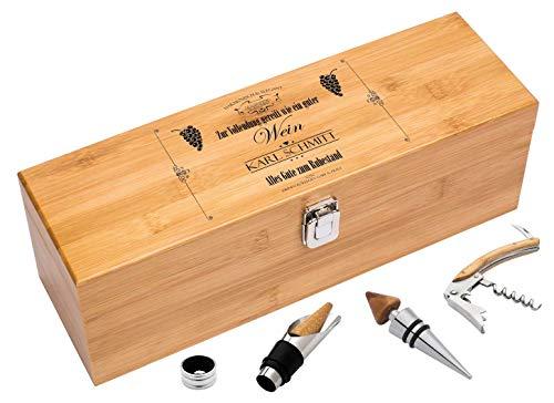Persönliche Geschenkverpackung für Weinflaschen/zum Ruhestand mit Wunschnamen/Zur Vollendung gereift wie EIN guter Wein/edle Weinbox aus Bambus als Ruhestands-Geschenk für Weinliebhaber
