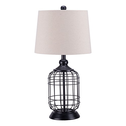 CO-Z Modern Black Birdcage Base Table Lamp, Industrial...