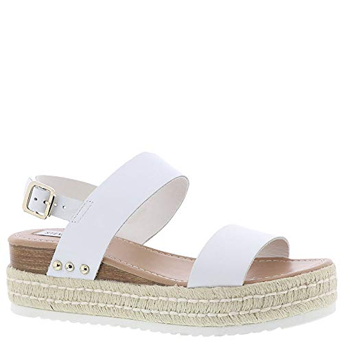 Price comparison product image Steve Madden Women's Catia Wedge Sandal White Leather 8 M US