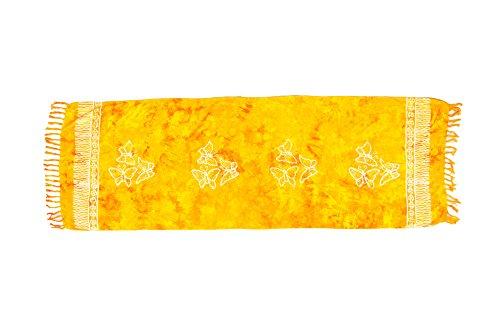 ManuMar sarong donna non trasparente come mini-gonna (155x55cm) | pareo bambini telo da mare | gonna a portafoglio | foulard leggero giallo sfrangiato con motivo farfalla | spiaggia |