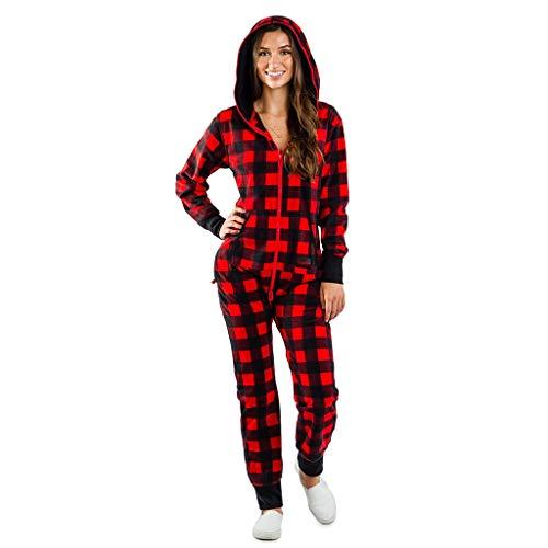 Pijama Completo de Mujer Tipo Mono SUNNSEAN Pijama a Cuadros Mujer Invierno Mameluco Suelto Monos Largos con Capucha y Cremallera Bolsillos Pijamas Monos Jumpsuit de Navidad