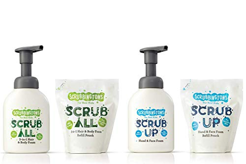 Scrubbingtons Eco Scrub Bundle - Hand & Face Wash and Hair & Body Wash with refill pouches for Kids. Cruelty Free and Recycleable. ✅