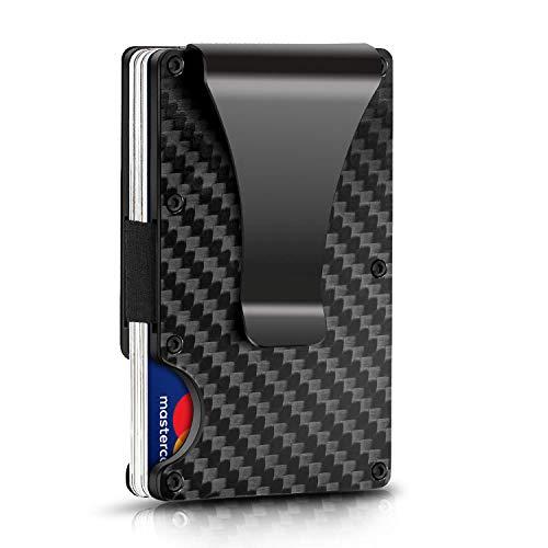 Estuche Tarjetas Fibra de Carbono Olixar RFID con Clip - Negro