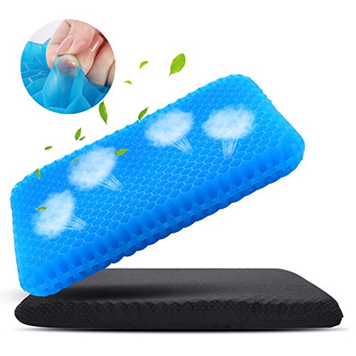 Large Gel Seat Cushion for Long Sitting, Soft & Breathable, Gel Cushion for Wheelchair Reduce Sweat, Gel Chair Cushion for Hip Pain, Gel Seat Cushion for Office Chair, Gel Car Seat Cushion Comfort