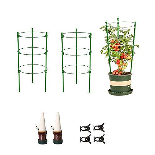 JIEPOLLY Rankhilfe Tomaten 2er Set, 45 cm Höhenverstellbare Ringe Wetterfest Kletterpflanzen Garten Balkon Rankhilfe (2er Set 60cm)