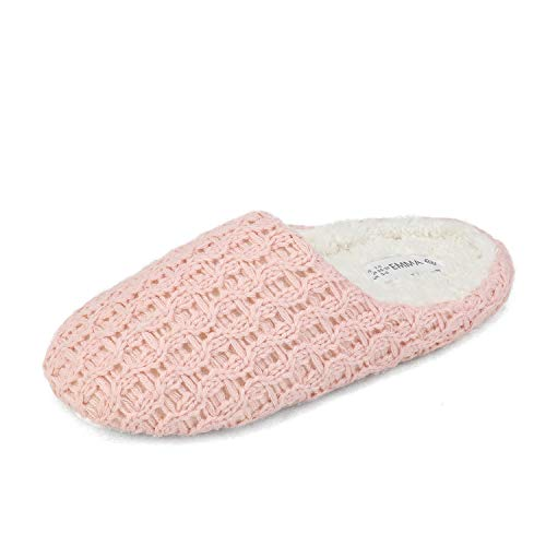 DREAM PAIRS Women's Pink Faux Fur Slip-on Knitted Memory Foam Winter House Slippers Size 5-6 M US Emma