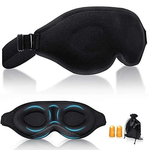 PEFOOK Schlafmaske, 3D Verstellbarem Gummiband Augenmaske 100% Hautfreundlich Seide Schlafmaske für Frauen und Herren Block Out Light Schlafbrille Cover für Travel Yoga Nap, plus 2 Ohrstöpsel