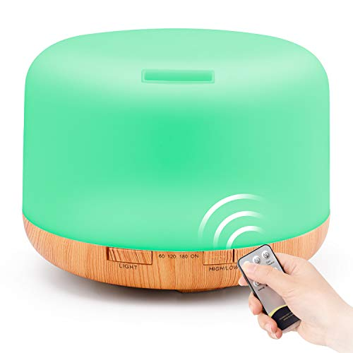 HOMEWEEKS 1000ml Essential Oil Diffuser, Oil Diffuser Essential Oils Large Room, Ultrasonic Quiet Mist Aromatherapy Diffuser With Remote Control, Timer, 7 Colors Light For Large room, Loft, Office