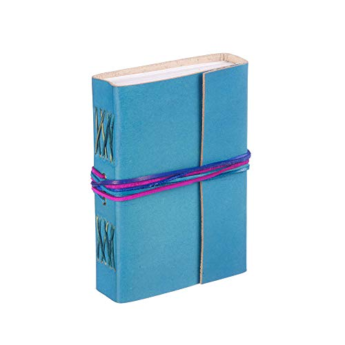 Fair Trade Tagebuch mit drei Bändern - leder - 110 x 155mm türkisblau aqua