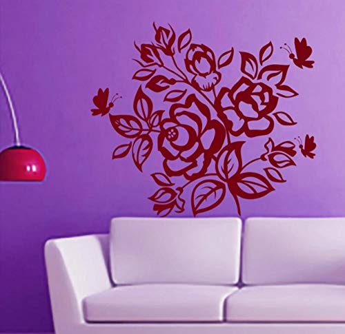 Rose Butterflies Flowering Blossom Wandtattoos Aufkleber Selbstklebende Vinyl Art Wandaufkleber Home Decor für Schlafzimmer 48 cm x 43 cm