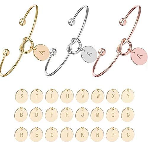 AdorabFruit Jesús Pulseras brazaletes A-Z 26 letras inicial encanto amor pulsera para mujer regalo al por mayor (color: oro rosa, tamaño: M)