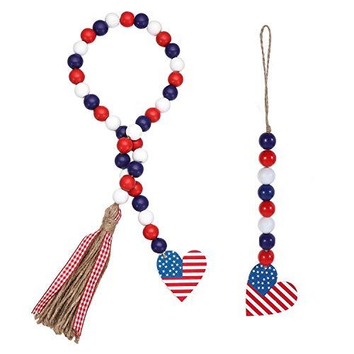 MXMA 2 unids/set granja 4 de julio adornos forma de corazón colgante de pared madera grano Garland con bandera americana oración perlas rústico borlas