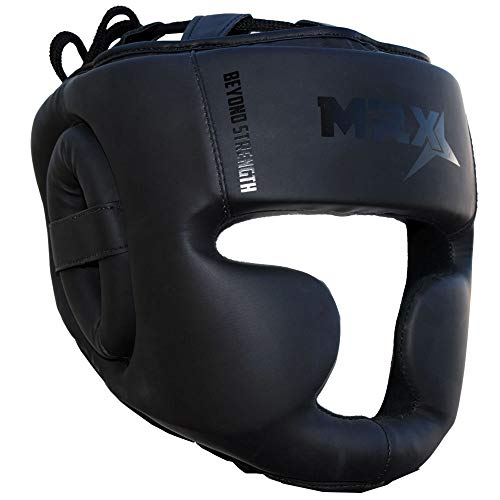 MRX Boxing Headgear Professional MMA Men Training Head Guard Judo Sparring Kickboxing Wrestling Boxing Helmet Protection for Face Cheek Forehead Ear Extra Thick Padded Cage Fighting Head Gear