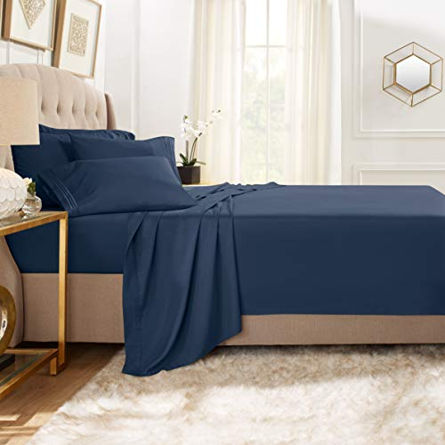 Clara Clark Premier 1800 Collection Bed Sheet Set with Extra Pillowcases Wrinkle, Fade & Stain Resistant, Full XL, Navy Blue