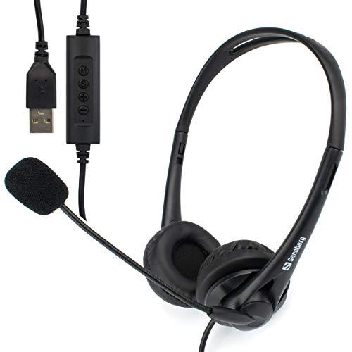 I-CHOOSE LIMITED - Cuffie USB per computer portatile, ufficio, con microfono stereo, zoom o Skype Multimedia PC, Webinar Chat | Confortevole | Controllo del volume in linea | Plug and Play