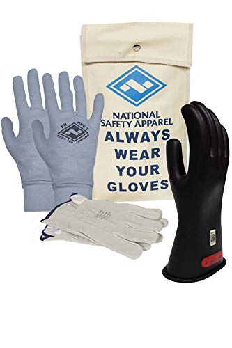 National Safety Apparel Class 0 Black Rubber Voltage Insulating Glove Premium Kit with FR Knit Glove and Leather Protectors, Max. Use Voltage 1,000V AC/ 1,500V DC (KITGC009AG)