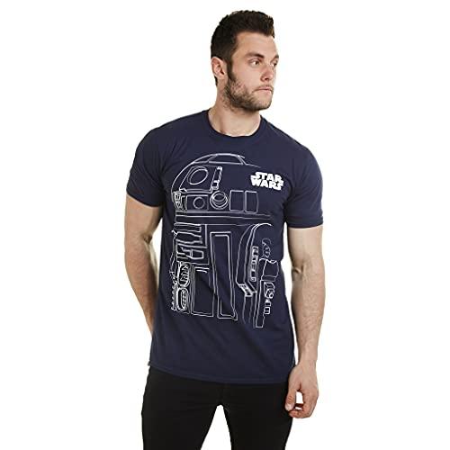 Star Wars R2D2 Outline T-Shirt, Blu Navy, S Uomo