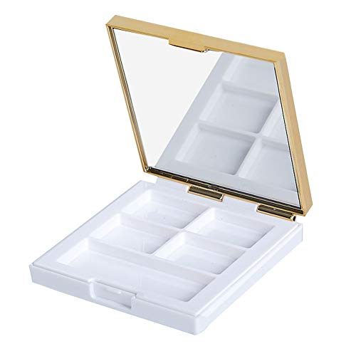 Empty DIY Eyeshadow Makeup Palette Case Box Eyeshadow Containers with Mirror for DIY Cosmetic Makeup Eyeshadow Lipstick Blush Palette (5 Grids, White)