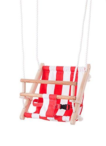 Beluga Spielwaren 70209 TWIPSOLINO Babyschaukel, rot/weiß 70209-TWIPSOLINO Holz Gartenschaukel Kinderschaukel