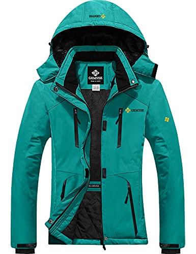 GEMYSE Women's Waterproof Ski Snow Jacket Insulated Winter Windproof Fleece Jacket with Hood (Acid Blue,X-Large)