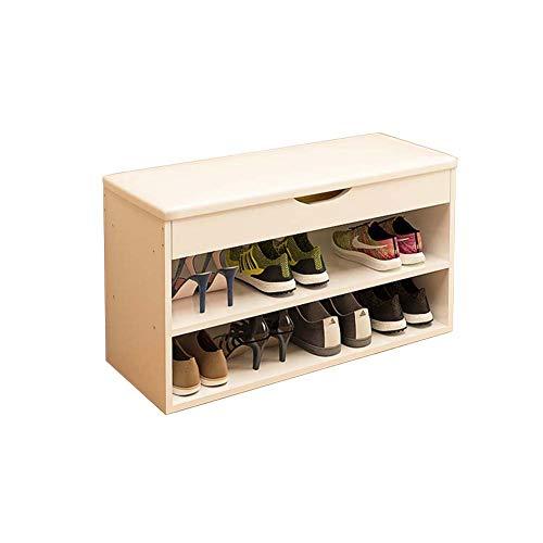 Comfortabel huis 2-laags schoenenkast, natuurlijke hoge dichtheid houten plank voor duurzaamheid, kan 8 paar schoenen bewaren, zacht kussen 80 X 30 X 43 cm