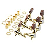 Swhmc 3R 3L Semi-Closed Golden Guitar String Tuners Tuning Keys Pegs Machine Heads Knobs Locking Tuners for Acoustic, Electric Guitar