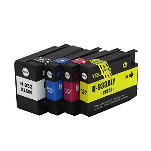 Abakoo Merotoner - Juego de 4 cartuchos de tinta para impresora HP Officejet 7610 6100 6600 6700 7110 7510A 7612 6700 (1 BK & 1 C & 1 M & 1 Y)