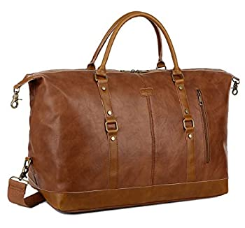 BAOSHA Leather Travel Duffel Tote Bag Overnight Weekender Bag Oversized for Men and Women HB-14  Brown