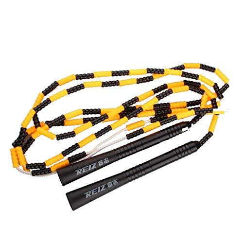 perfeclan Sprungseil mit Perlen Springseil Skipping Rope Hüpfseil für Fitness Training Spiel Ausdauertraining - Gelb + Schwarz
