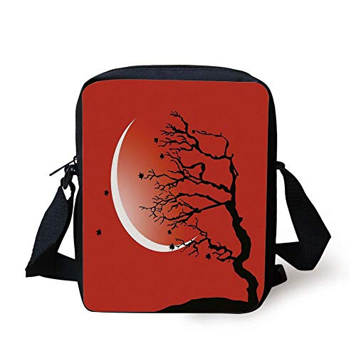 Modern,Digital Nature Scene with Tree Windy Branches Crescent Moon and Stars Artwork,Red Black White Print Kids Crossbody Messenger Bag Purse