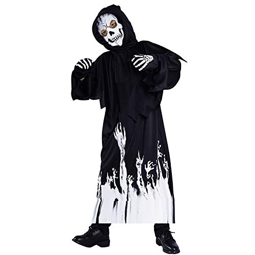 P & P Kids Halloween Fancy Dress Costume Children's Skeleton Dress Up Outfit – All in One Jumpsuit with Gloves and Mask