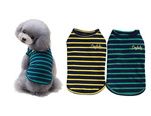 YAODHAOD 2er Pack Gestreiftes Hundeshemd Haustierkleidung Welpen Baumwolle T-Shirts Super Weich Cat Tank Weste T-Shirt Atmungsaktiv dehnbar für kleine extra...