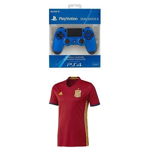 Sony - Mando Dualshock 4, Color Azul (PS4) + 1ª Equipación Selección Española de Fútbol Euro 2016 - Camiseta oficial adidas, talla M Authentic: Amazon.es: Videojuegos