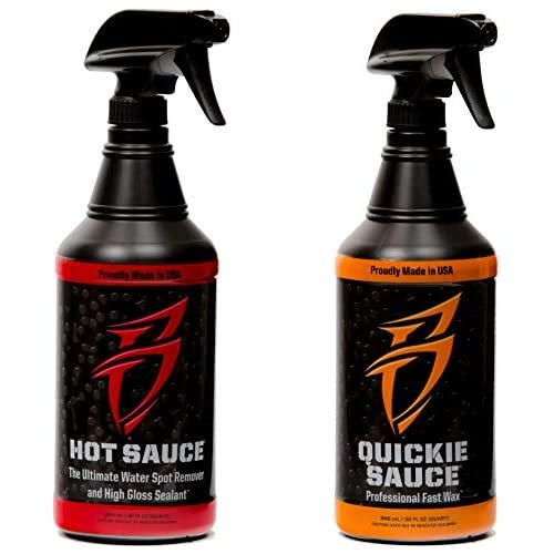 Boat Bling Premium Bundle, Hot Sauce Premium Hard Water Spot Remover and Quickie Sauce Premium High-Gloss Fast Wax, Two 32 oz. Bottles