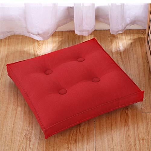 Cuscino Da Pavimento Piazza Cuscino Per Meditazione Per Posti A Sedere Sul Pavimento Solido Spesso Biancheria Cuscino Da Seduta Per Yoga Soggiorno Divano Balcone Mat Tatami Cuscini-Rosso. 40x40cm(16x1