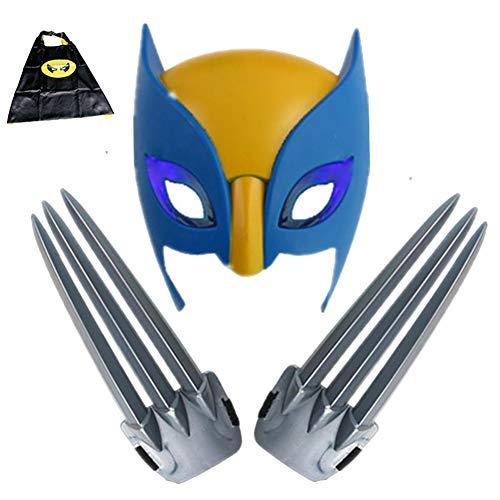 HYE Garras de Wolverine, 2 Piezas 1 par de glaws de Lobo con mscara para nios con mscara de plstico Cosplay Accesorios accin Figura 1: 1 pelcula Wolf Paws Props X-Men Logan 20cm / 7.87in