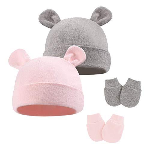 Juego de gorro y manoplas para bebé recién nacido, de algodón, con orejeras, unisex, para bebés de 0 a 6 meses