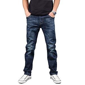 Hiloyaya メンズ デニムパンツ ストレッチ ダメージ加工 ジーパン アメカジ メンズジーンズ ズボン 紳士 大きいサイズ (34, ブルー)