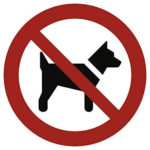 Schild Mitführen von Hunden verboten gemäß ASR A1.3 / DIN 7010 Alu 20 cm Ø (Hundeverbot, Verbotsschild) wetterfest