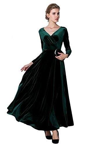 Urban GoCo, klassisches langes elastisches Damenkleid, Samt, V-Ausschnitt, lange Ärmel Gr. 42, grün